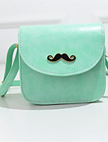 Women PU Bright Pure Color Beard Icon Casual Shopping Magnetic Shoulder Bag