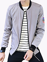 Men's Fashion Embroidered Letter Stand Collar Slim Fit Outdoor Casual Jacket;Polyester/Plus Size