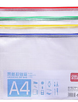 Zipper Paper Bags Transparent Plastic Mesh Bags A4 Briefcase (Random Color)