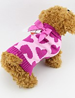 Autumn and Winter Christmas Heart Pattern with Lovely Pink Bow Dog Sweater Dog Clothes for Pet Dogs (Assorted Sizes)
