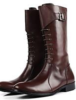 Черный / Коричневый-Мужской-На каждый день-Кожа-На плоской подошве-Военные ботинки / С острым носком-Ботинки