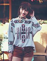 Aporia.As® Women's Round Neck Long Sleeve Shirt & Blouse Light Gray-MZ12024