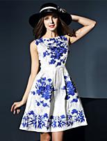 ocasional bonito um vestido de linha de klimeda mulheres / diária, bordado em torno do pescoço acima do joelho sem mangas de poliéster verão