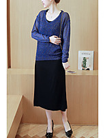 Maternity Going out / Casual/Daily Simple Loose / Shift Dress,Solid Round Neck Long Sleeve Blue / Pink Summer
