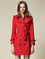 BURDULLY Women's Shirt Collar Long Sleeve Trench Coat Red / Purple-5066