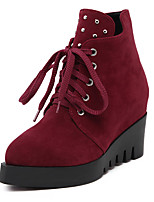 Women's Boots Fall Bootie / Pointed Toe Suede Casual Wedge Heel Lace-up Black / Burgundy Others