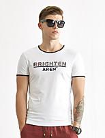 WILSHEMON® Men's Round Neck Short Sleeve T Shirt Black / White / Gray / Yellow-WS16B18008