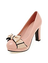 Women's Heels Summer / Fall Heels / Round Toe PU Office & Career / Casual Chunky Heel Bowknot Black / Pink / White /