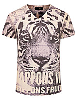 Men's Print Casual / Sport / Plus Size T-Shirt,Cotton Short Sleeve-Yellow