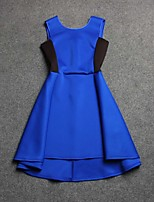 Boutique S Women's Going out Street chic Sheath Dress,Color Block Round Neck Above Knee Sleeveless Blue Cotton Summer