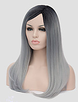 Europe and the United States Straight Selling Foreign Trade Black Light Grey in Long Synthetic Wigs