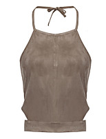 Women's Going out Sexy / Vintage Summer Tank Top,Solid Halter Sleeveless Brown Rayon Thin
