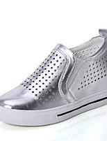 Da donna-Sneakers-Casual-Zeppe-Zeppa-Finta pelle-Nero / Bianco / Argento