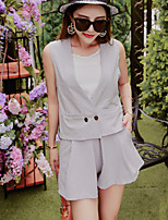 Boutique S Women's Casual/Daily Street chic Summer Set Pant,Solid Round Neck Sleeveless Gray Polyester Thin