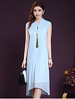 Women's Plus Size / Going out Cute Loose Dress,Solid V Neck Midi Sleeveless Blue / White Silk / Rayon Summer