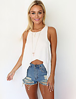 Women's Casual/Daily Sexy Summer Blouse,Solid Strap Sleeveless White Cotton Opaque