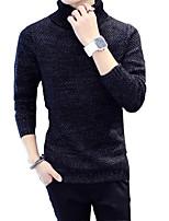 Мужской Пэчворк Пуловер На каждый день,Хлопок,Длинный рукав,Черный / Синий / Коричневый