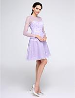 TS Couture® Cocktailparty Kleid A-Linie Schmuck Knie-Länge Spitze mit Blume(n) / Spitze