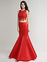 Formal Evening Dress Trumpet / Mermaid Jewel Floor-length Lace with Beading