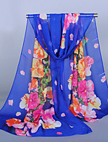 Women's Chiffon Flowers Print Scarf Red/Orange/Blue/Royal Blue/Pink