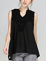 Women's Plus Size / Casual/Daily Street chic Summer Blouse,Solid V Neck Sleeveless White / Black Rayon / Polyester Thin