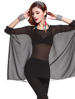 Belly Dance Outfits Women's Training Rayon Pleated 1 Piece Black Belly Dance 3/4 Length Sleeve Natural Top