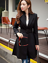 Women's Going out / Work / Holiday Vintage / Street chic / Sophisticated Trench Coat,Solid Shirt Collar Long Sleeve