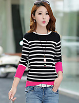 Women's Casual/Daily Simple Regular Pullover,Striped Black / Orange Round Neck Long Sleeve Cotton Spring Medium