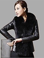 Women's Plus Size / Party/Cocktail Simple Fur Coat,Solid / Color Block Shawl Lapel Long Sleeve Fall /