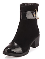 Women's Boots Winter Fashion Boots / Round Toe Dress Chunky Heel Zipper Black / Brown / Camel Others
