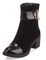 Damen-Stiefel-Kleid-Kunstleder-Blockabsatz-Rundeschuh / Modische Stiefel-Schwarz / Braun / Kamel