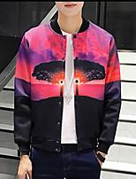 Men's Long Sleeve Casual / Plus Size Jacket,Polyester Print Black