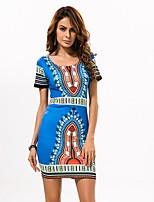 In Colour Women's Round Neck Short Sleeve Knee-length Dress-3513