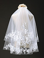 Wedding Veil Two-tier Elbow Veils Cut Edge Tulle / Lace Ivory