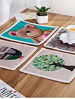 Mélange Lin/Coton Carré Sets de table