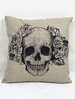 Skull Horror Square Linen  Decorative Throw Pillow Case Cushion Cover