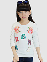 Girl's Round Collar Pullover Wild Casual/Daily Print Hoodie / Blouse