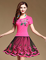 Latin Dance Outfits Women's Performance Cotton / Tulle / Milk Fiber Pattern/Print 2 Pieces Black / Fuchsia / Light Red