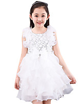 Girl's Casual/Daily Solid Dress,Cotton Summer Pink / White