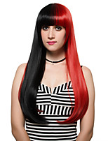 Red and black long hair and wig fashion adduction, nightclub.