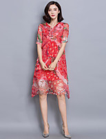 Women's Plus Size Sophisticated Loose Dress,Print Round Neck Knee-length Short Sleeve Red Silk Summer