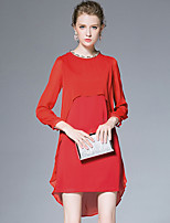 AFOLD® Women's Round Neck Long Sleeve Asymmetrical Dress-6025