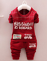 Boy's Cotton Spring/Autumn Fashion Cartoon Print Casual Long Sleeve Shirt And Pants Baby Two-piece Set