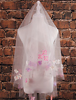 Wedding Veil One-tier Shoulder Veils Cut Edge Tulle Ivory Ivory