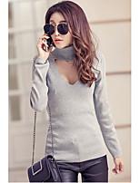 Women's Casual/Daily Simple / Street chic Regular Pullover,Solid Black /Fall Medium