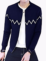 Men's Fashion Stand Collar Patchwork Printed Slim Fit Outdoor Casual Jacket;Polyester/Plus Size
