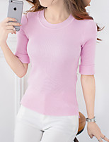 Women's Going out Simple Regular Pullover,Solid Round Neck ¾ Sleeve Cotton / Acrylic Fall Medium