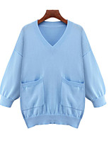 Women's Casual/Daily Simple Regular Pullover,Solid Blue / Pink V Neck Long Sleeve Polyester Fall Medium