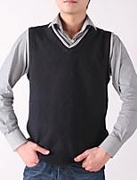 Men's Plaid Casual Vest,Cotton Sleeveless Black / Blue / Purple / White / Gray