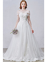 A-line Wedding Dress Court Train Off-the-shoulder Tulle with Appliques / Beading / Lace